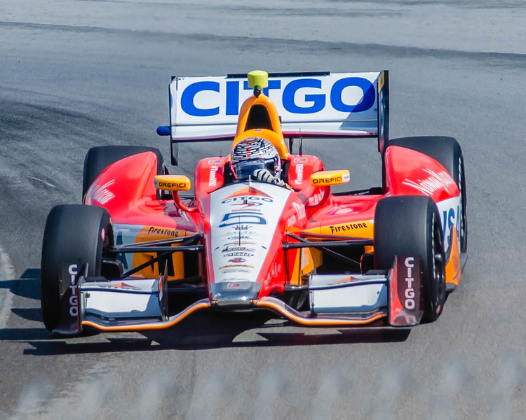 "EJ Viso, driving the #5 Citgo Andretti HVM Honda; negotiates the series of turns known as the ""Esses"" at the Mio-Ohio Sports Car Complex in Lexington, Ohio; during practice for the Honda Indy 200.<br /> <br /> EJ finished 17th"