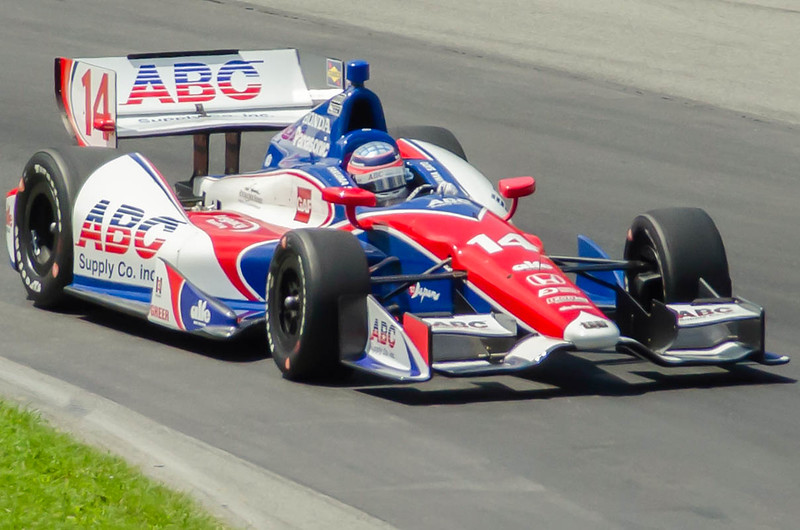 Takima Sato pilots the  #14 ABC Building Materials AJ Foyt Honda through the Esses at the Mid-Ohio Sorts Car Course in Lexington, Ohio; during practice for the 2013 Honda Indy 20<br /> <br /> Takima finished 22nd