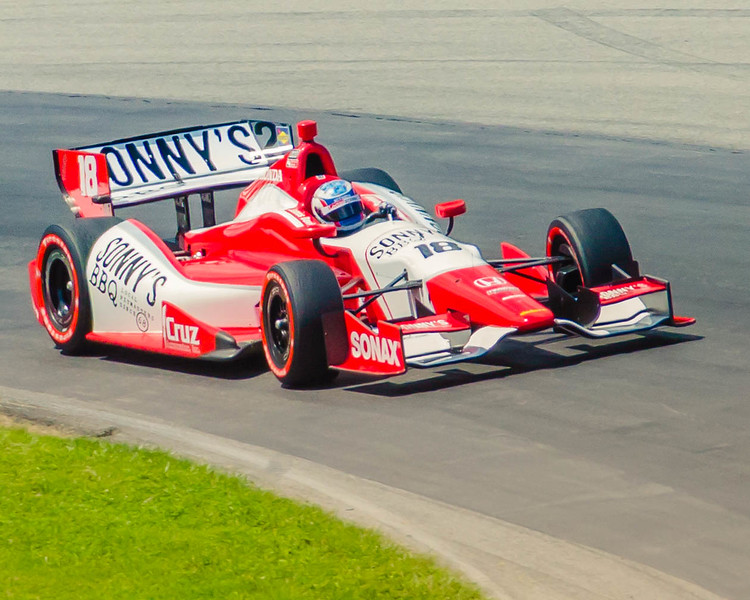 Justin Wilson pilots the  #19 Sonny's BBQ Dragon Chevrolet  through the Esses at the Mid-Ohio Sorts Car Course in Lexington, Ohio; during practice for the 2013 Honda Indy 20<br /> <br /> Justin finished 19th