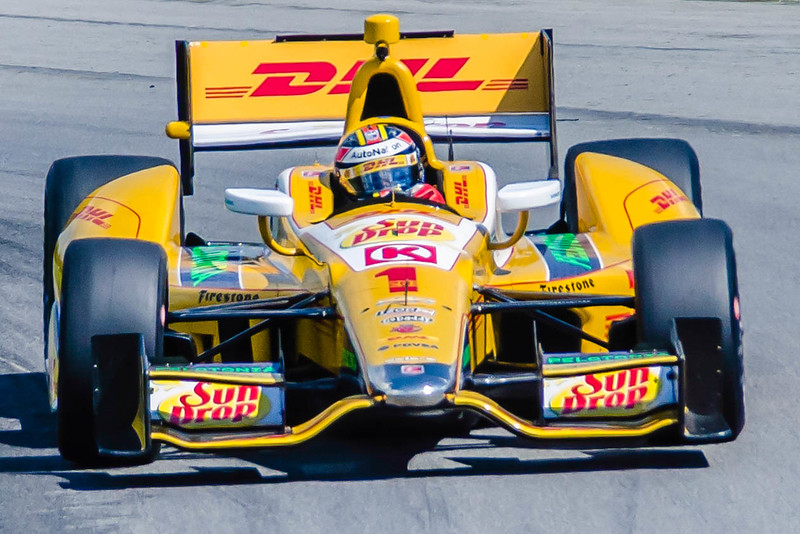 Ryan Hunter-Reay, driving the #1 DHL Andretti Honda negotiates the Esses at the Mid-Ohio Sorts Car Course in Lexington, Ohio; during practice for the 2013 Honda Indy 200.<br /> <br /> Ryan finished 5th and won the 2013 Indy Car Championship