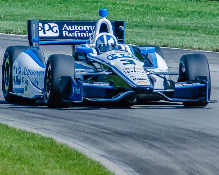 Helio Castroneves practices for the 2013 Honda Indy 200 at the Mid-Ohio Sports Car Complex in Lexington, Ohio.