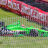 Driver James Hinchcliffe, driving the #27 Go Daddy Andretti Chevrolet loses control entering the Carousel at the Mid Ohio Sports Car Complex during practice for the Honda Indy 200.<br /> <br /> Image 4 of 6 in the crash sequence.<br /> <br /> James finished in 10th place