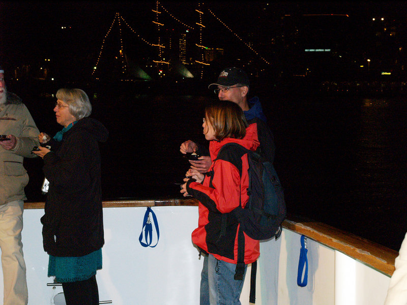 On December 17, 2006, it's the Parade of Lights with Sushi on a Roll on the party boat Condor for Action Ski and Snowboard Club.<br /> Yes, there are boat lights in the distance.
