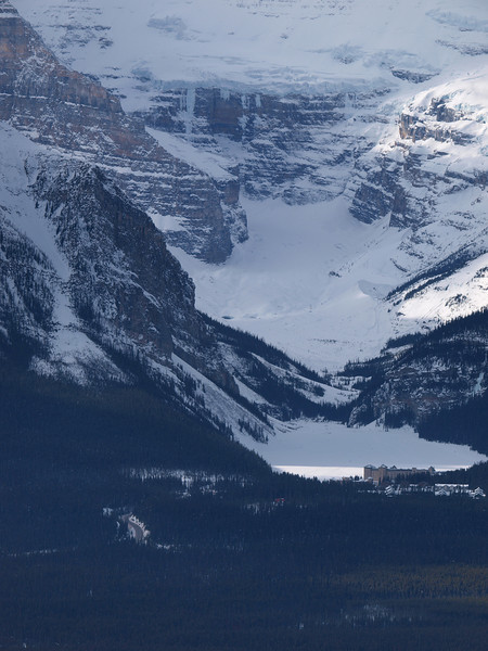 Chateau Lake Louise<br /> Lake Louise<br /> Mount Victoria<br /> Banff National Park<br /> from Lake Louise Ski Area