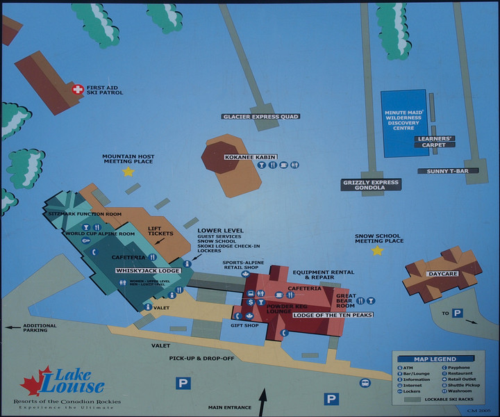 Map of the base area<br /> Lake Louise Ski Area<br /> Banff National Park<br /> Alberta, Canada