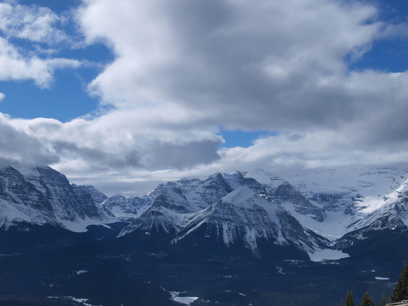 Chateau Lake Louise<br /> Lake Louise<br /> Mount Temple (at left)<br /> Mount Aberdeen<br /> Fairview Mountain<br /> Mount Victoria<br /> Banff National Park