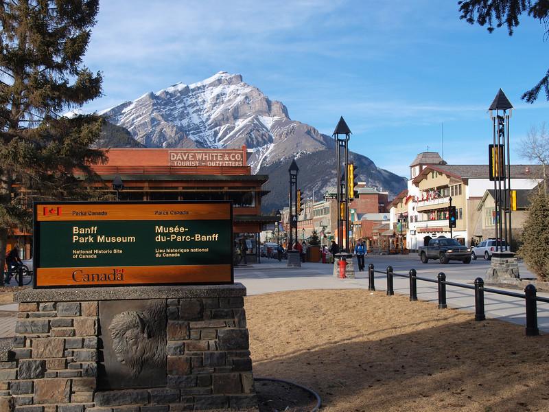 Banff, Cascade Mountain from Banff Park Museum<br /> Banff Avenue<br /> Banff, Alberta