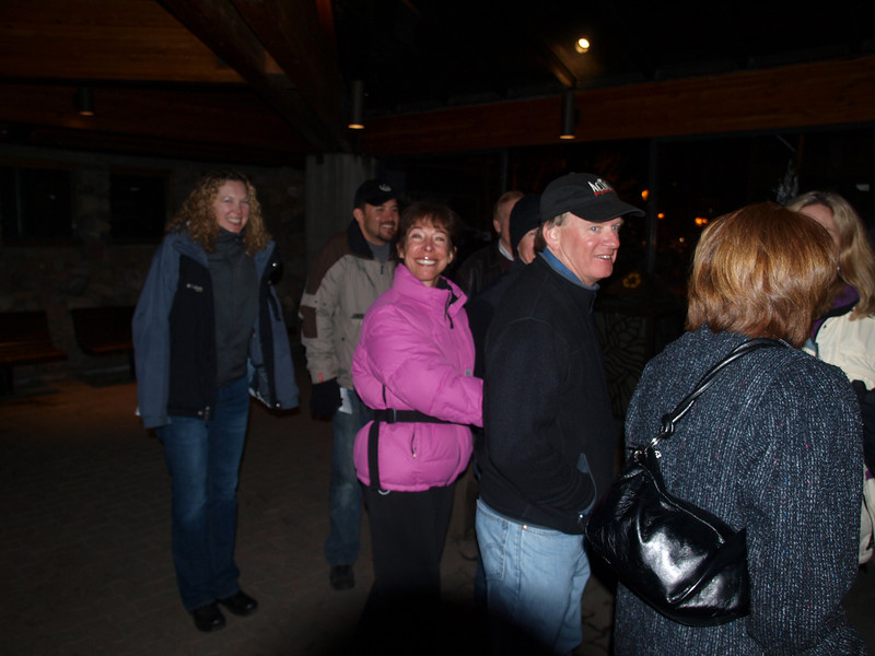At the shuttle stop, <br /> on the way to the Red Lion,<br /> after the pizza dinner.<br /> Vail, Colorado<br /> Action Ski and Snowboard Club