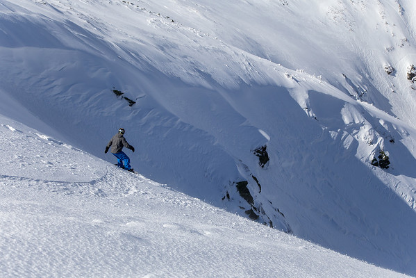 Dropping in to Left Gully