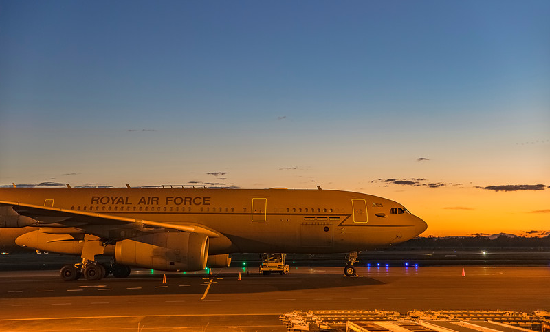 Royal Air Force Airbus KC2 Voyager A330-243MRTT ZZ338 at Rockhampton Airport at sunset 29-05-2019