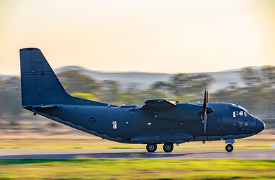 Royal Australian Air Force Alenia C-27J Spartan A34-001 performing touch and goes at Rockhampton Airport 22-03-19.