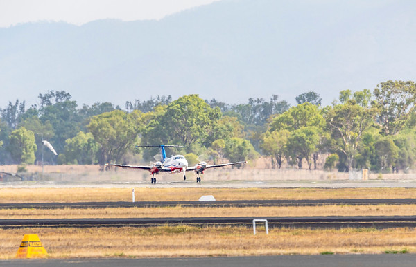 Royal Flying Doctor Service Beechcraft B200 Super King Air VH-FDZ Departing Rockhampton Airport
