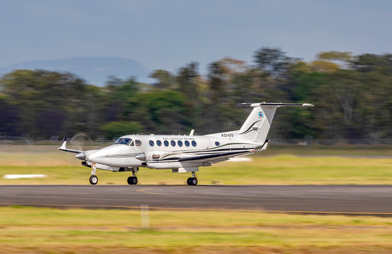 RAAF Beech 300 Super King Air 350 A32-675 Taking off from Rockhampton Airport 25-01-19.