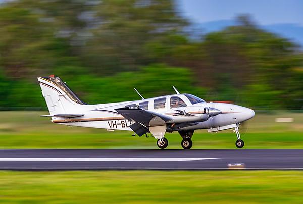 Beech 58P Pressurized Baron VH-BLT landing at Rockhampton Airport after a flight from Emerald 17-01-19.