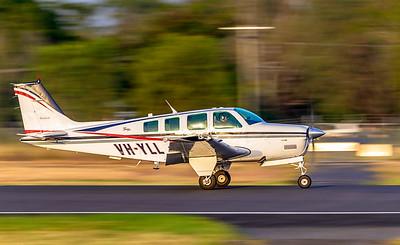 Beechcraft A36 Bonanza VH-YLL landing at Rockhampton Airport 15-02-2019.
