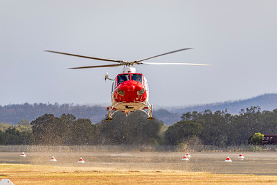 RAAF Search and Rescue Bell 412EP VH-VAB landing at Rockhampton Airport 19-05-2019