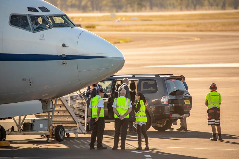 RAAF Boeing 737-7DF BBJ A36-001 VIP Transport arrving at Rockhampton Airport carrying Prime Minister Scott Morrison.