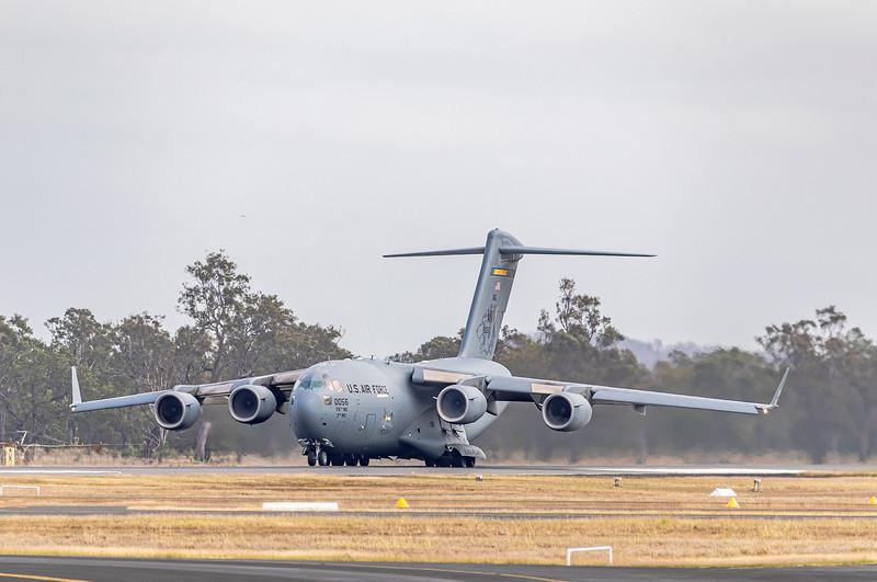 United States Air Force C17A Globemaster III 80056 departing Rockhampton Airport during Talisman Saber, 07-07-2019