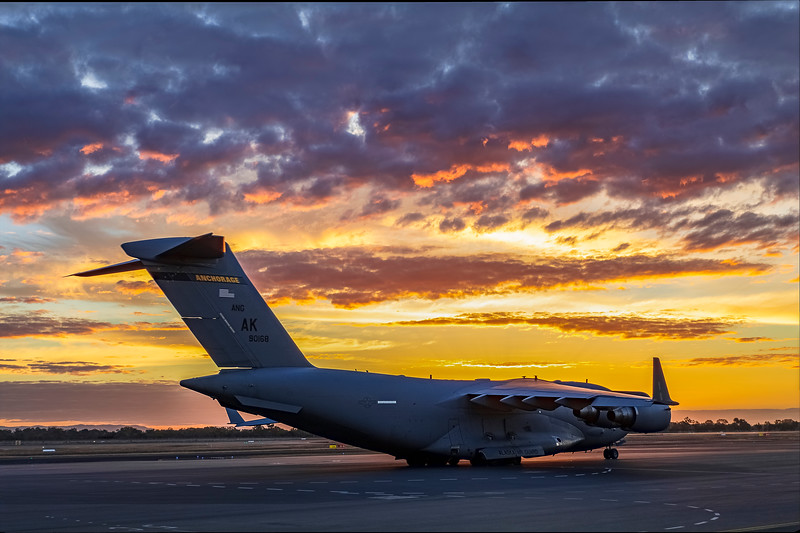 United States Air Force C17A Globemaster III at Rockhampton Airport during Talisman Saber, 01-07-19.