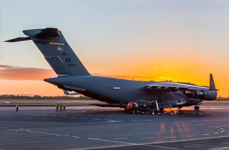 United States Air Force C17A Globemaster III at Rockhampton Airport during Talisman Saber, 30-06-19.