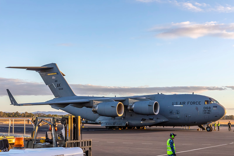United States Air Force C17A Globemaster III at Rockhampton Airport during Talisman Saber, 30-06-19.