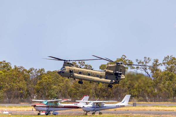 Royal Australian Army CH-47F Chinook A15-302 landing at Rockhampton Airport 18-02-19