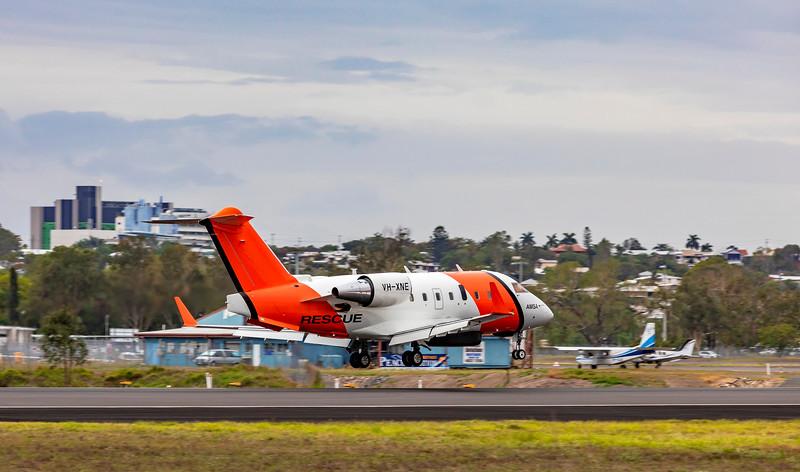 Cobham SAR Services Bombardier Challenger 604 CL-600-2B16 VH-XNE landing at Rockhampton Airport