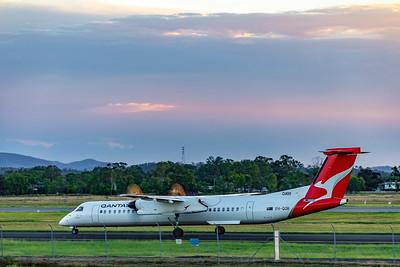 QANTAS De Havilland Dash 8 Q400 VH-QOR departing Rockhampton Airport 18-03-2019