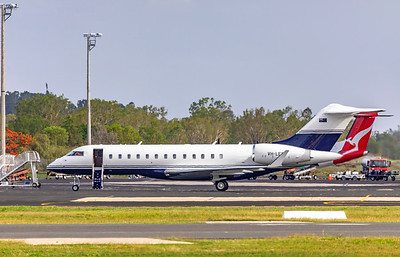 Linfox Global Charter Bombardier Global 6000 VH-LEP landing at Rockhampton Airport