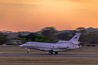 Royal Australian Air Force Dassault Falcon 7x A56-002 departing Rockhampton Airport during Talisman Sabre 2019.