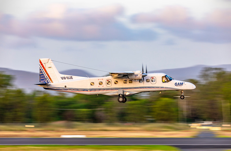 General Aviation Maintenance Dornier 228 VH-VJE landing at Rockhampton Airport 15-02-2019.