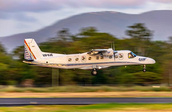General Aviation Maintenance Dornier 228 VH-VJE landing at Rockhampton Airport 15-02-2019.