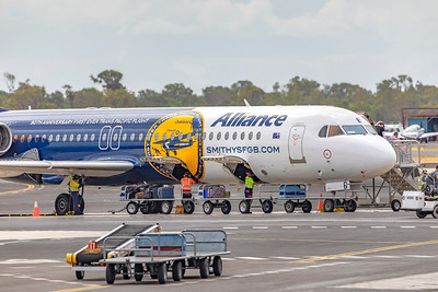 Alliance Airlines Fokker F100 VH-FGB departing Rockhampton Airport 26-02-2019.