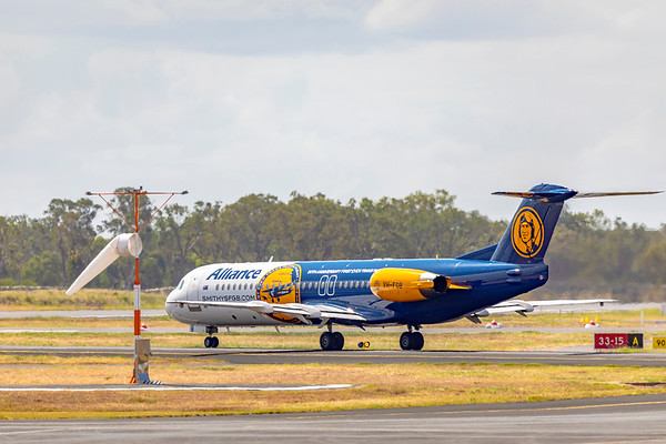 Alliance Airlines Fokker F100 VH-FGB departing Rockhampton Airport 26-02-2019.