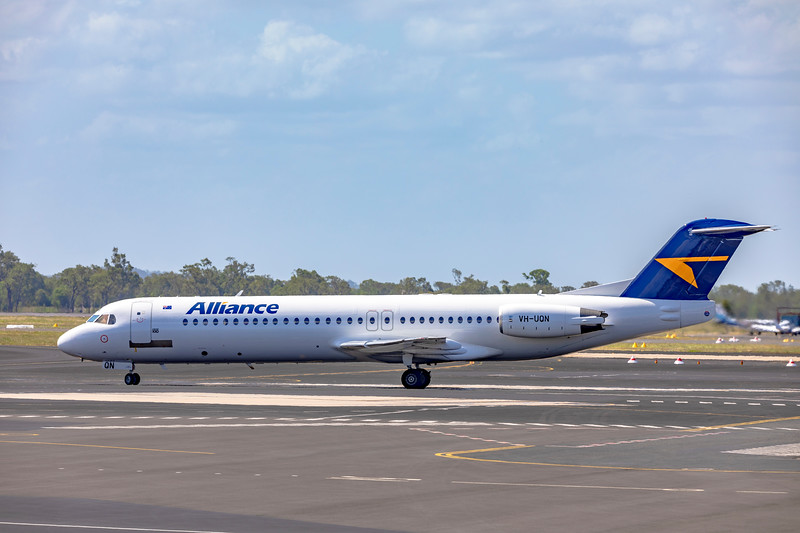 Alliance Airlines Fokker F100 VH-UQN departing Rockhampton Airport as VA1244 on 06-01-19