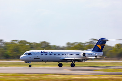 Alliance Airlines Fokker F100 VH-UQN departing Rockhampton Airport as VA1244 on 06-01-19