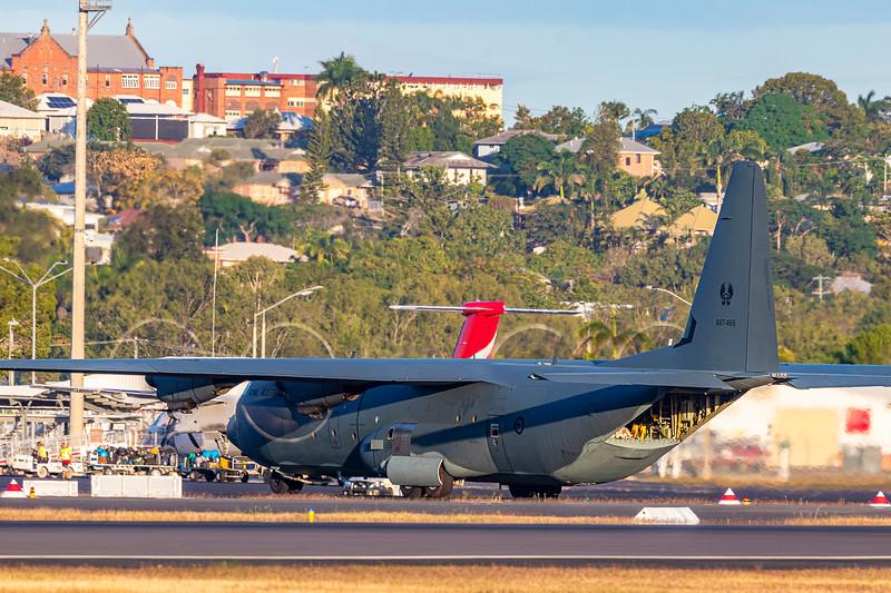 Royal Australian Air Force C-130J Hercules A97-465 landing at Rockhampton Airport 09-06-2019