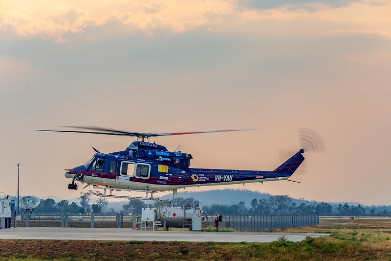 Babcock Mission Critical Services Bell 412EP VH-VAU taking off from Capricorn Helicopter Rescue Rockhampton Airport