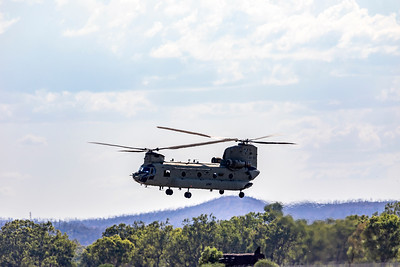 Three Royal Australian Army CH-47F Chinooks stop in Rockhampton to refuel on their way to assist in the Victorian bushfire effort.
