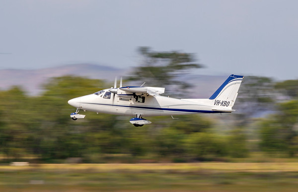 Aerometrex Partenavia P-68 Taking off from Rockhampton Airport 25-01-19