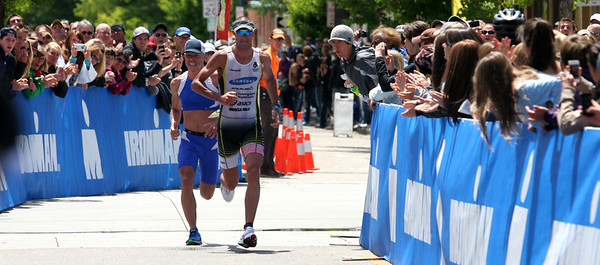 Matty Reed (L) and Callum Millward (R) sprint for the finish of the Boise IronMan 70.3.