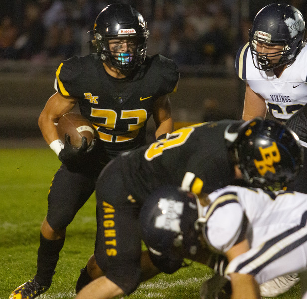 Bishop Kelly's Seth Knothe looks for an opening during match up with Middleton High School on  October 1.