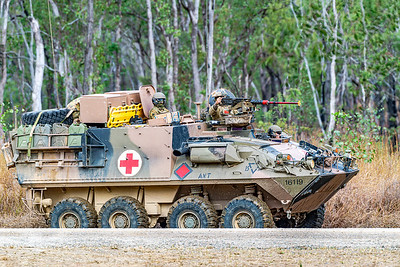 Exercise Talisman Saber 2019.  Australian Army ASLAV transits through the Shoalwater Bay Training Area.