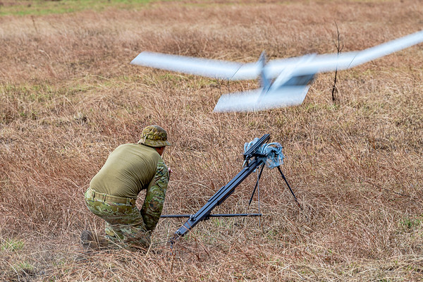Exercise Talisman Saber 2019.  Drones capture a stealthy arial view during the HiMARS live fire.