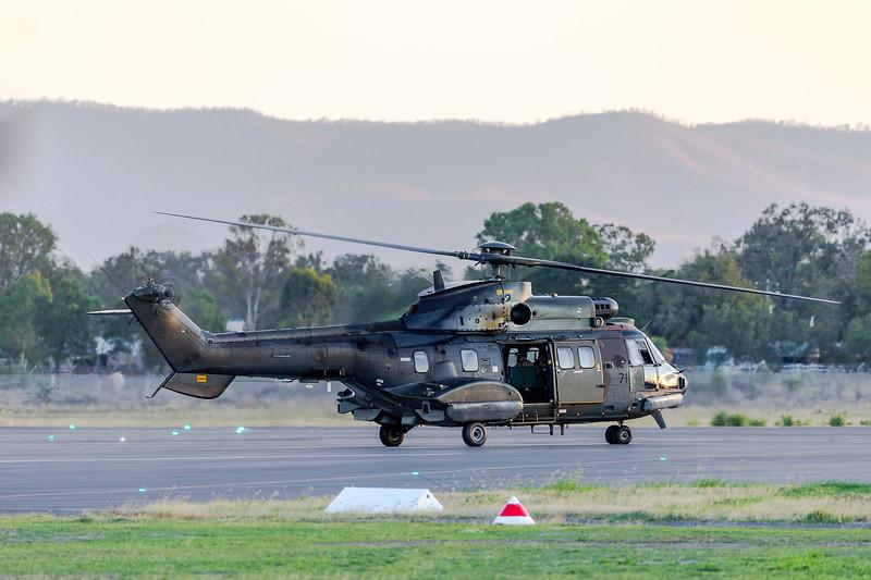 Exercise Wallaby 2019 - Repbulic of Singapore Air Force AS332M Super Pumas departing Rockhampton Airport.