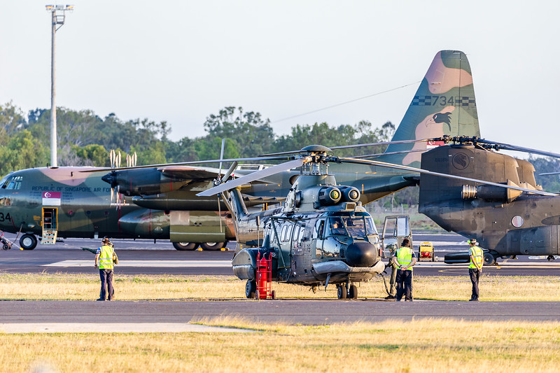 Exercise Wallaby 2019 - Repbulic of Singapore Air Force AS332M Super Pumas departing Rockhampton Airport.