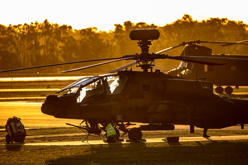 Exercise Wallaby 2019 - Republic of Singapore Air Force AH-64D Apaches being maintained at Rockhampton Airport