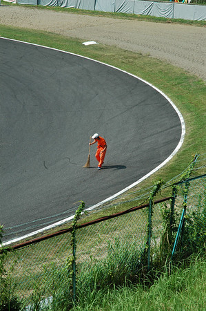 Cleaning the track of debris... the old fashioned way!
