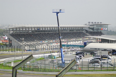 A view of the grand stands from the last turn