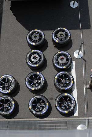 Tires laying out before the race, all fitted with the discs for the breaks!